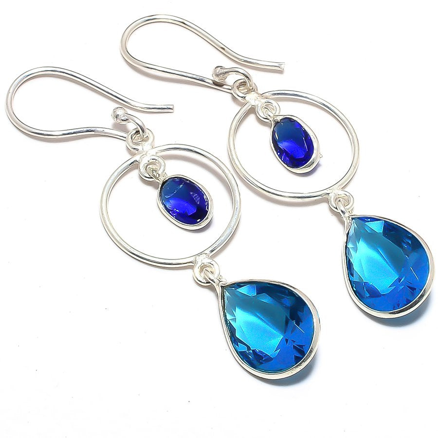 Blue Topaz, Blue Sapphire Ethnic Jewelry Earring 2.2 Inches RJ3644