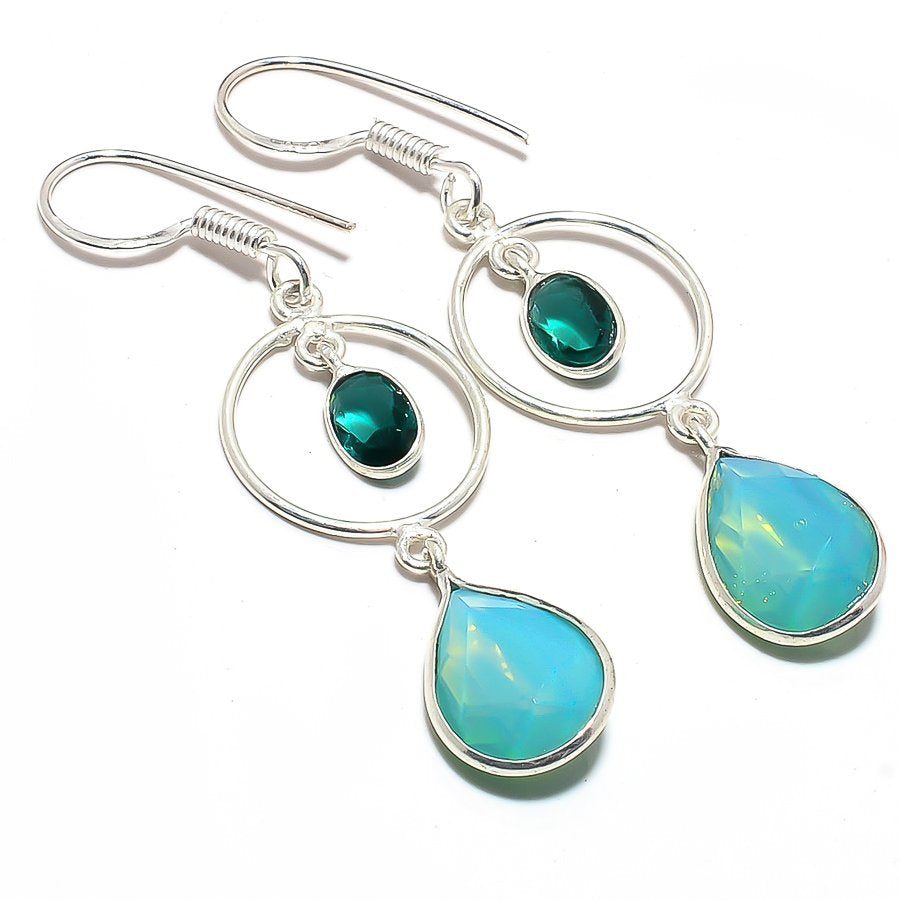Green Milky Opal Gemstone Ethnic Jewelry Earring 2.2 Inches RJ3651