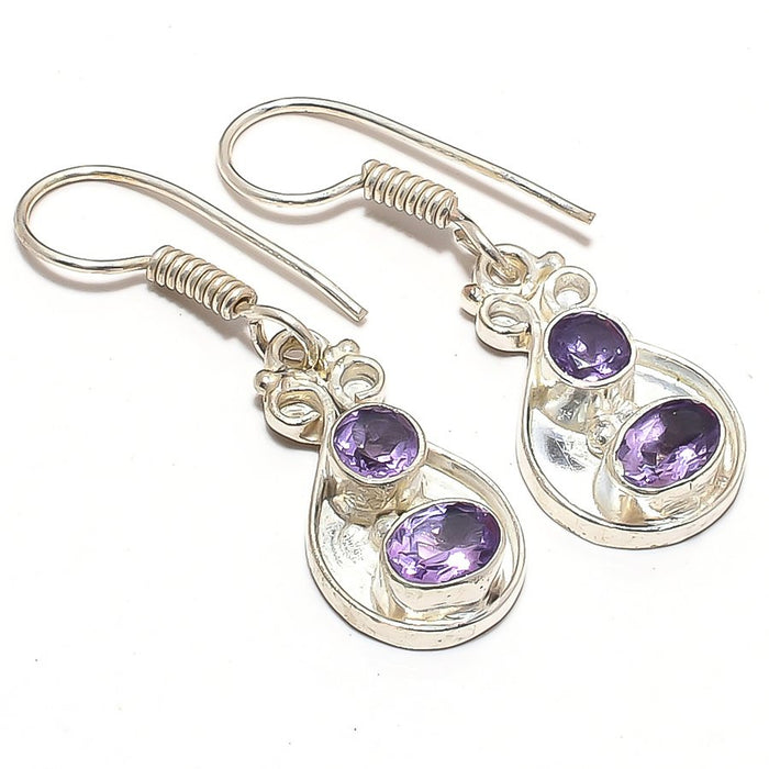 Amethyst Gemstone Handmade Jewelry Earring 1.5 Inches RJ3653