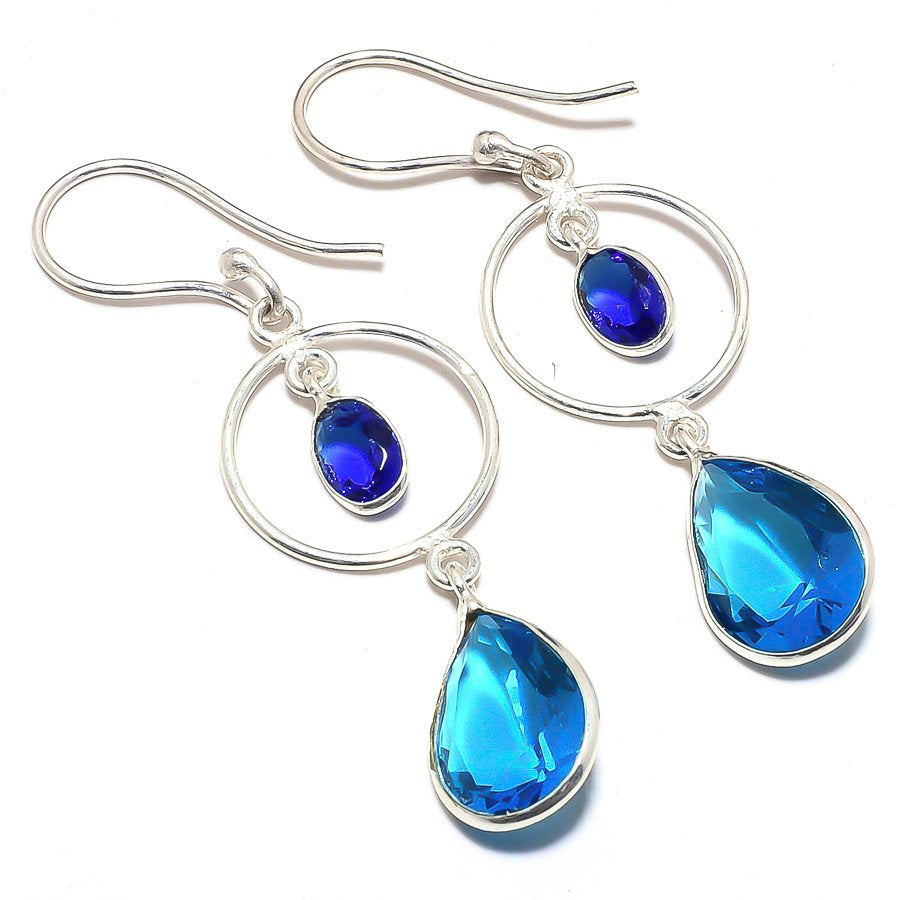 Blue Topaz, Blue Sapphire Ethnic Jewelry Earring 2.2 Inches RJ3655