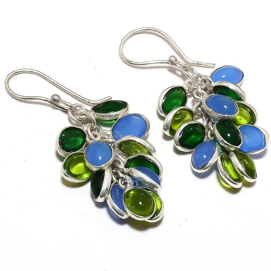 Grapes - Peridot, Blue Onyx Jewelry Earring 1.8 Inches RJ3656