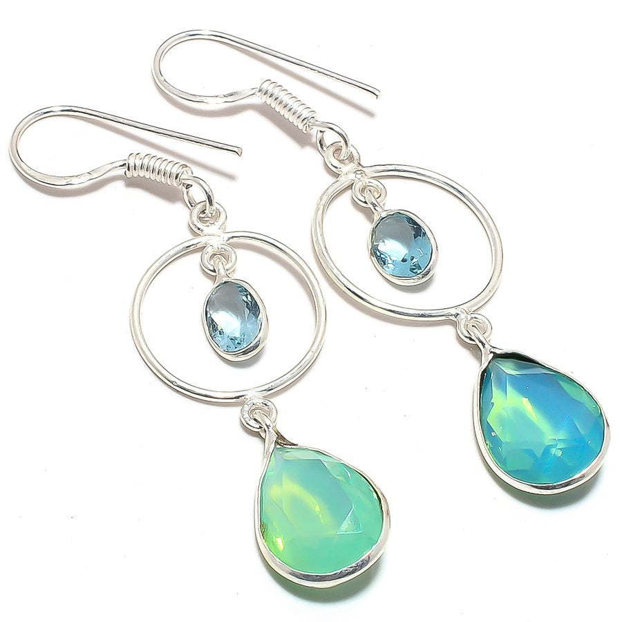 Green Milky Opal, Blue Topaz Jewelry Earring 2.2 Inches RJ3661