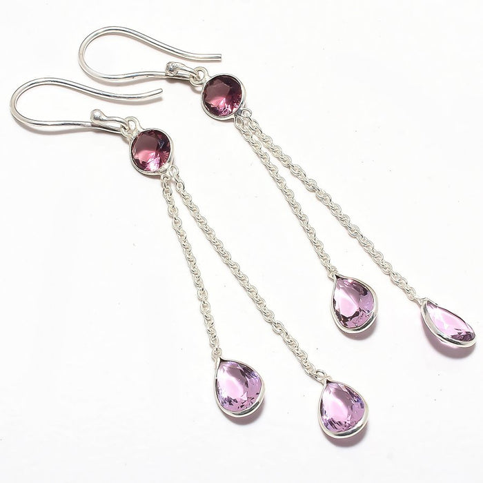 Rose Quartz, Amethyst Gemstone Jewelry Earring 2.9 Inches RJ3670