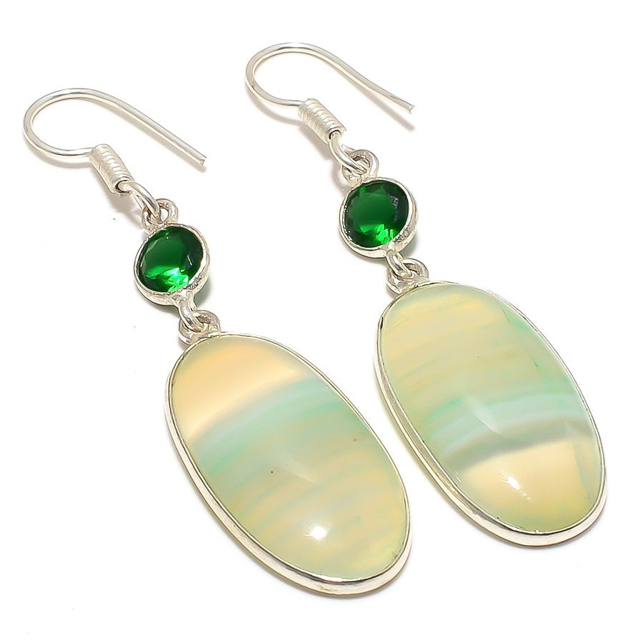 Green Lace Agate Gemstone Ethnic Jewelry Earring 2.2 Inches RJ3694