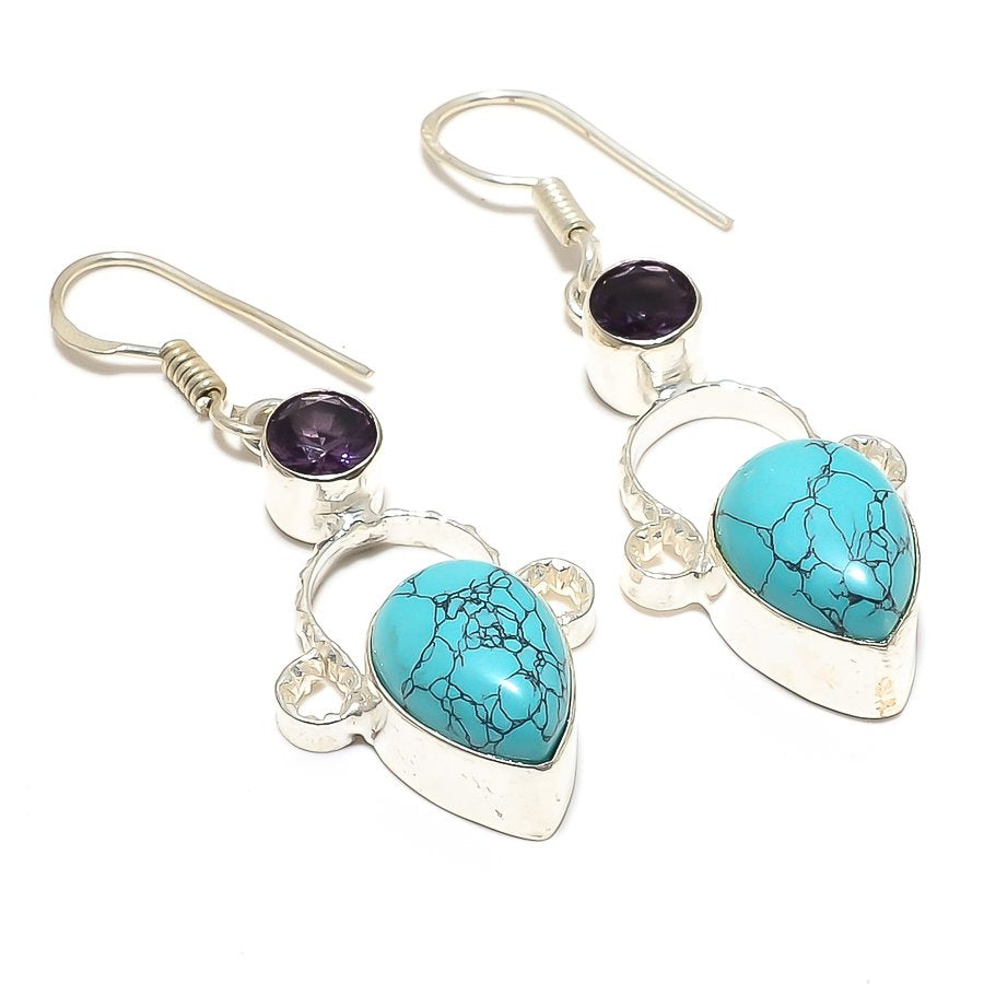 Santa Rosa Turquoise, Amethyst Jewelry Earring 2.0 Inches RJ3705