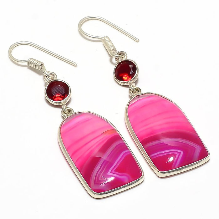 Pink Lace Agate, Garnet Gemstone Jewelry Earring 2.2 Inches RJ3711