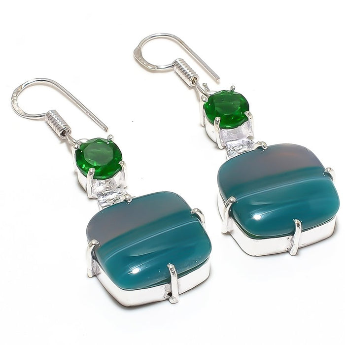 Green Lace Agate Gemstone Ethnic Jewelry Earring 2.0 Inches RJ3720