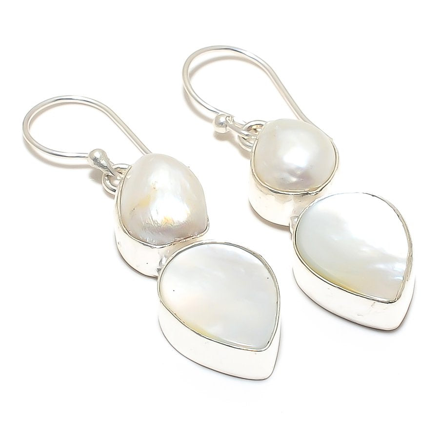 Mother Of Pearl, River Pearl Jewelry Earring 1.8 Inches RJ3730