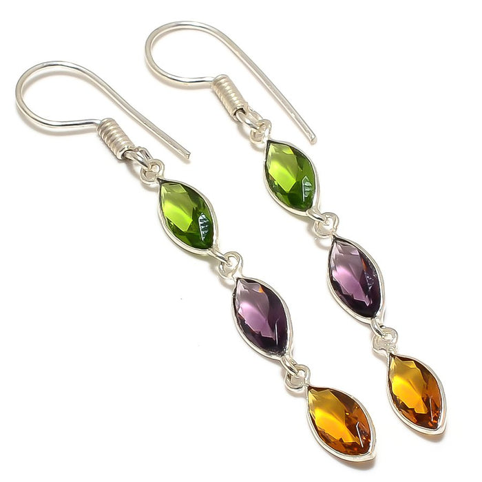Honey Topaz, Amethyst Gemstone Jewelry Earring 2.4 Inches RJ3734