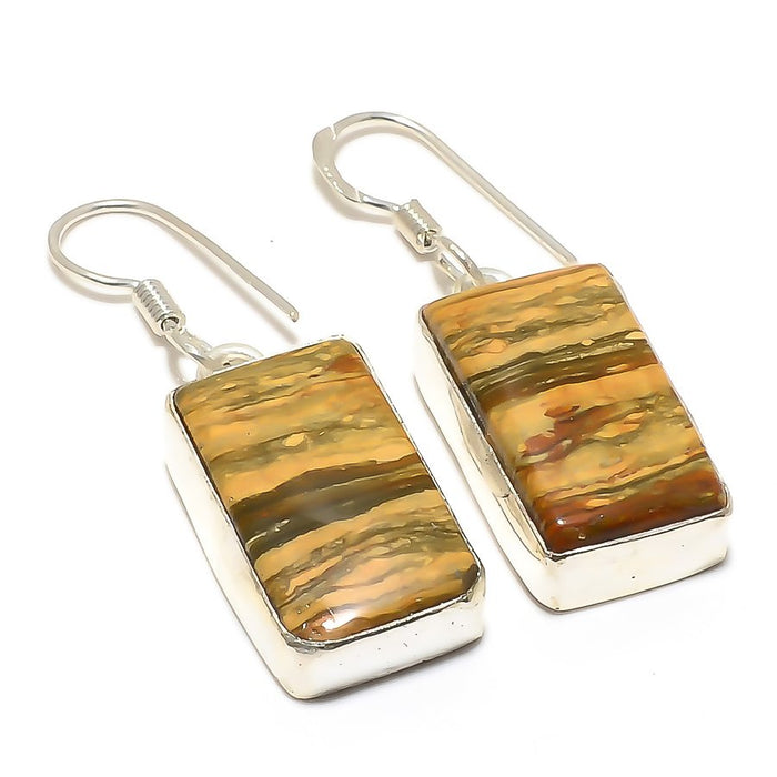Picture Jasper Gemstone Handmade Jewelry Earring 1.6 Inches RJ3744
