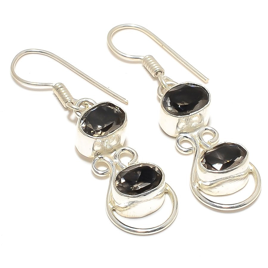 Smokey Topaz Gemstone Handmade Jewelry Earring 1.8 Inches RJ3769