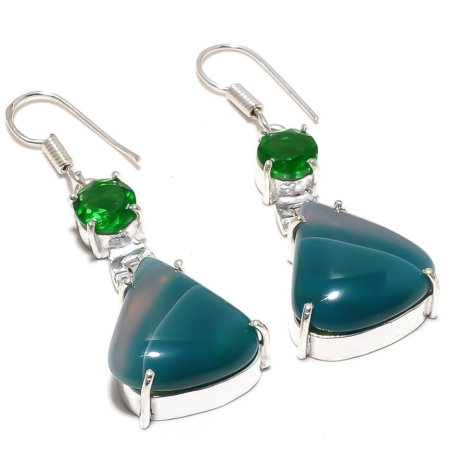 Green Lace Agate Gemstone Ethnic Jewelry Earring 2.0 Inches RJ3773
