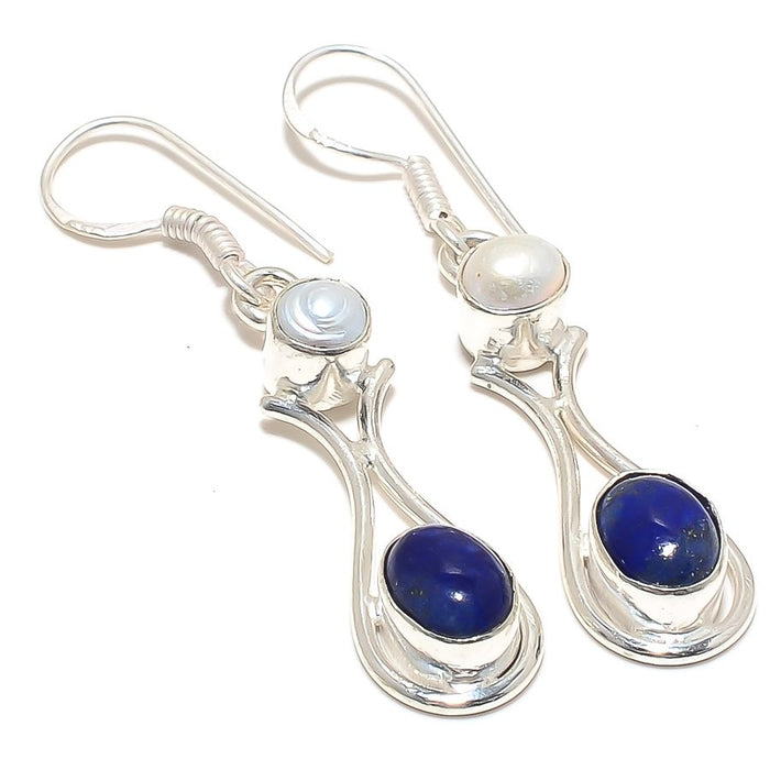 Lapis Lazuli, River Pearl Ethnic Jewelry Earring 2.2 Inches RJ3780