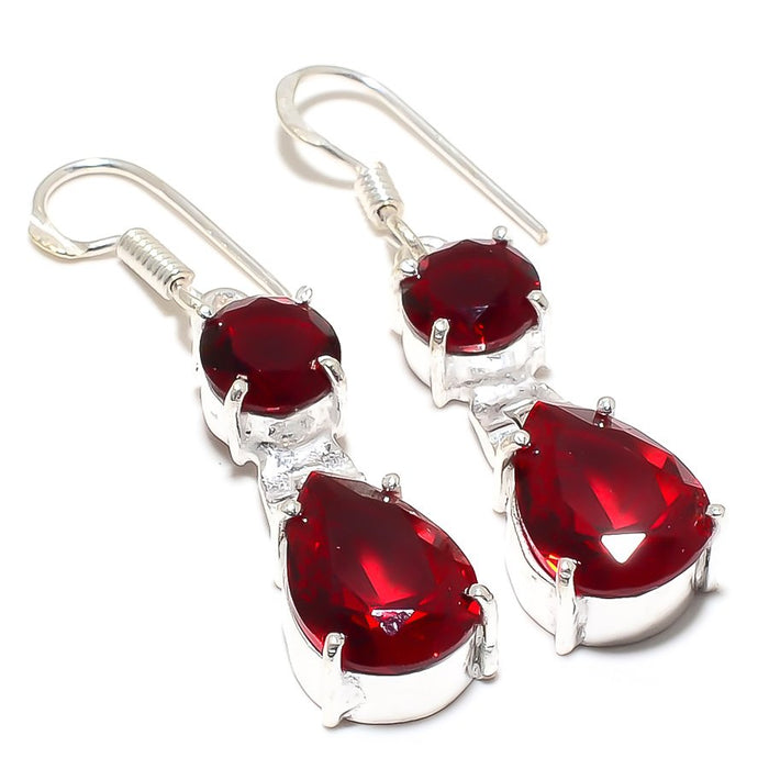 Garnet Gemstone Handmade Ethnic Jewelry Earring 1.8 Inches RJ3783