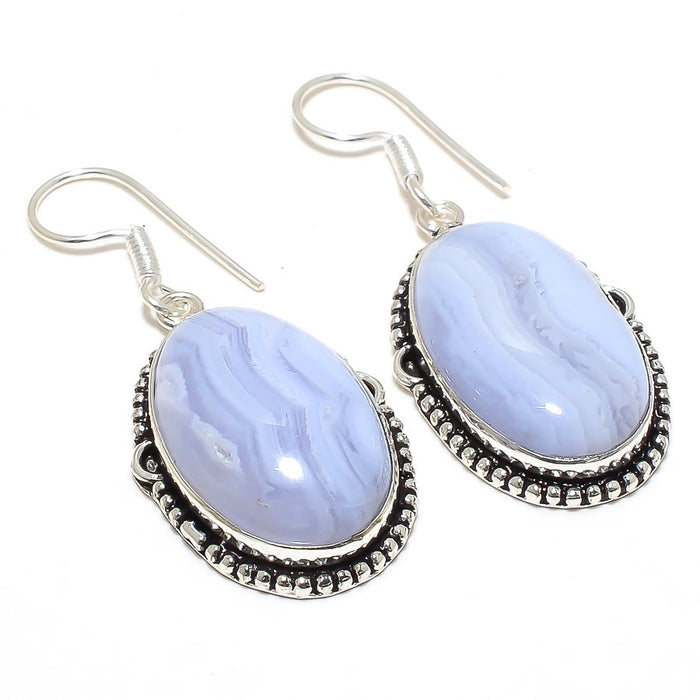 Blue Lace Agate Gemstone Ethnic Jewelry Earring 2.0 Inches RJ3795