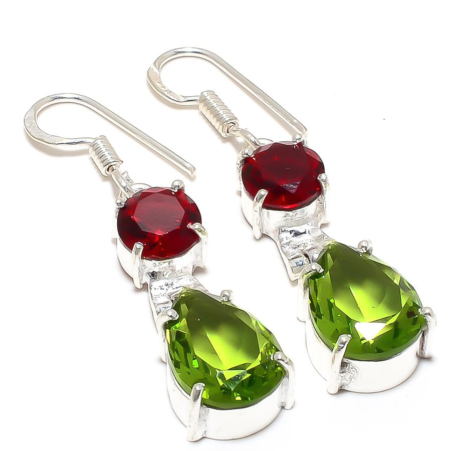Peridot, Garnet Gemstone Ethnic Jewelry Earring 1.8 Inches RJ3799
