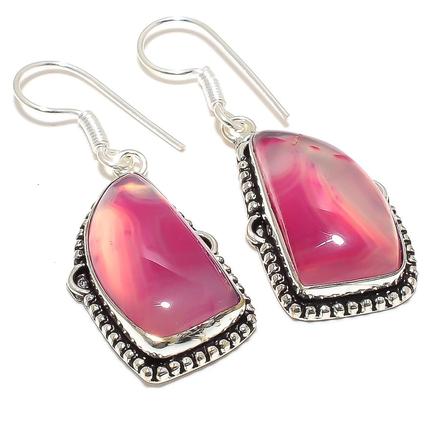 Pink Lace Agate Gemstone Ethnic Jewelry Earring 2.0 Inches RJ3802