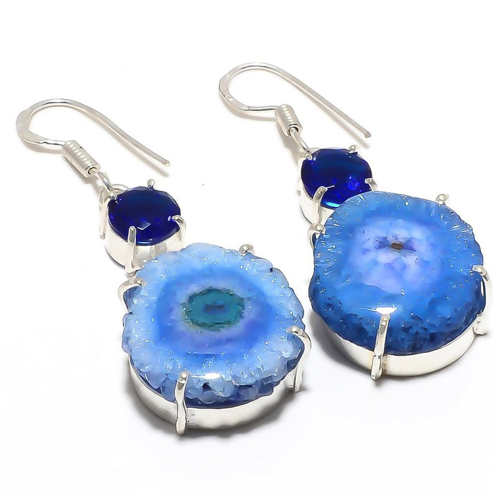 Blue Solar Quartz Druzy Gemstone Jewelry Earring 2.0 Inches RJ3806