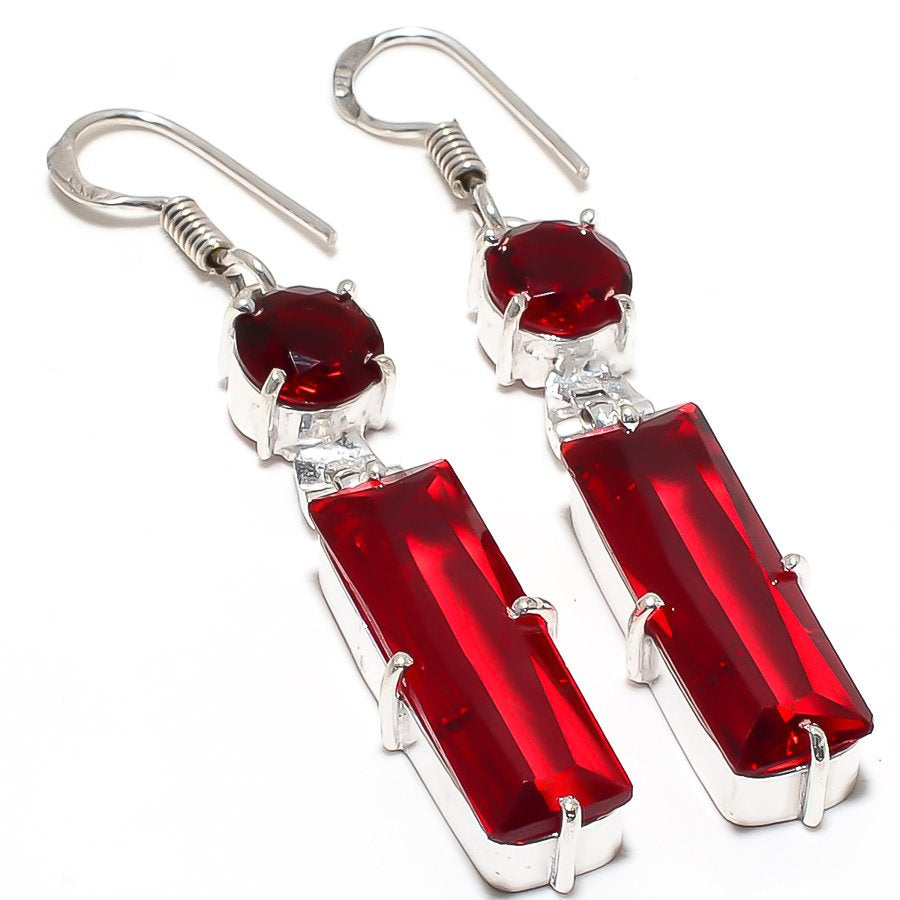 Garnet Gemstone Handmade Ethnic Jewelry Earring 2.4 Inches RJ3810