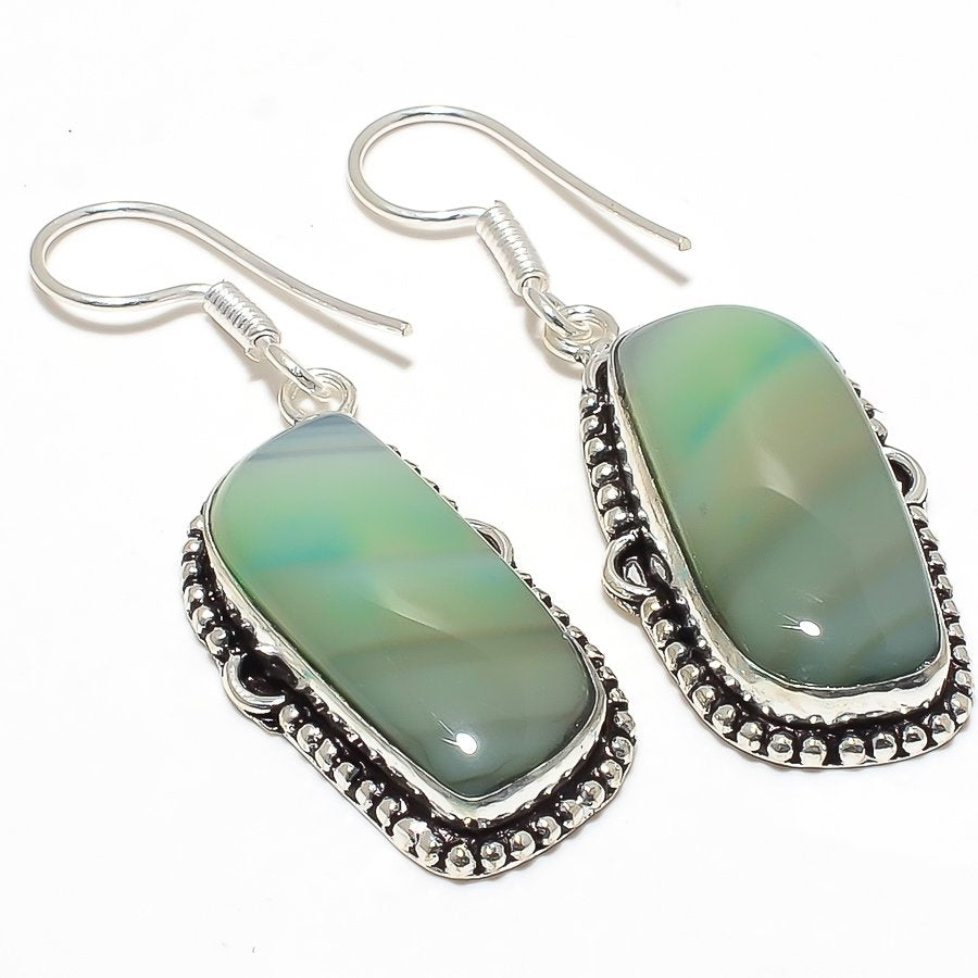 Green Lace Agate Gemstone Ethnic Jewelry Earring 2.0 Inches RJ3820