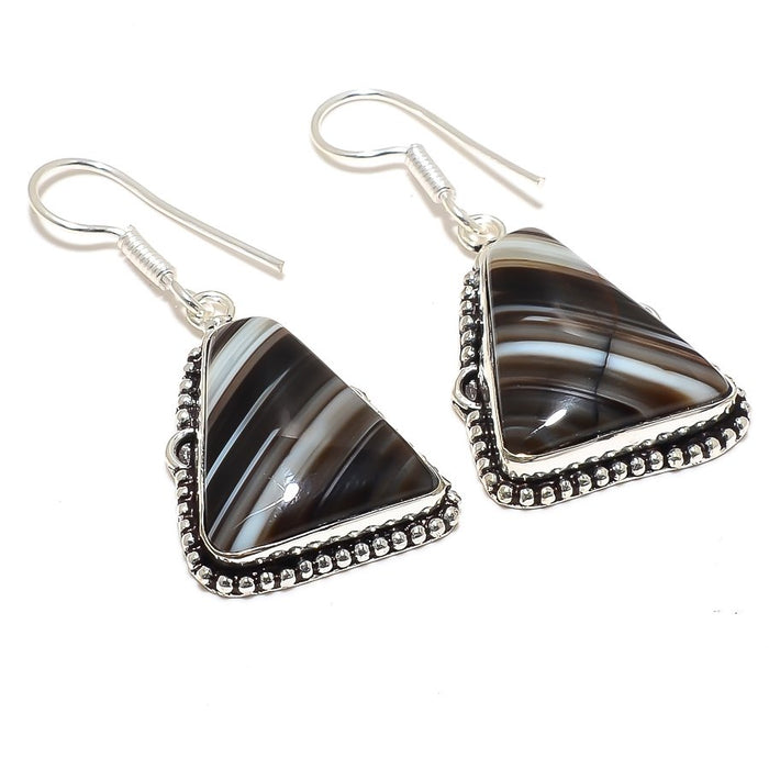 Botswana Lace Agate Gemstone Jewelry Earring 1.9 Inches RJ3836