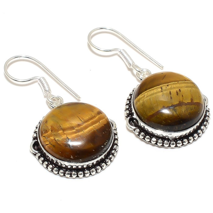 Tiger'S Eye Gemstone Handmade Jewelry Earring 1.7 Inches RJ3839