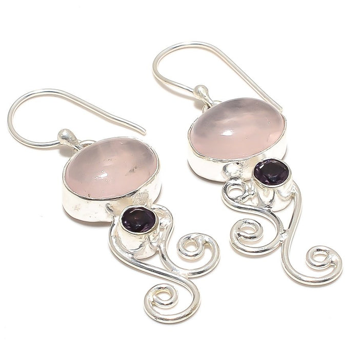 Rose Quartz, Amethyst Gemstone Jewelry Earring 2.0 Inches RJ3846