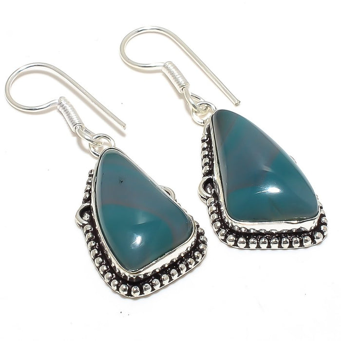 Green Lace Agate Gemstone Ethnic Jewelry Earring 2.0 Inches RJ3873