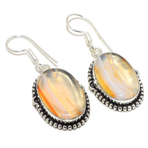 Montana Lace Agate Gemstone Jewelry Earring 1.9 Inches RJ3880