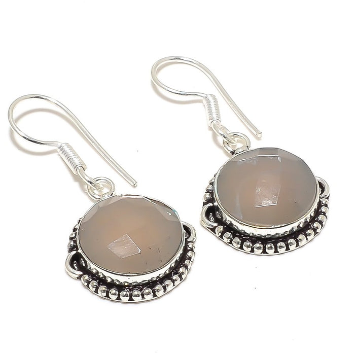 Moonstone Gemstone Handmade Jewelry Earring 1.6 Inches RJ3882