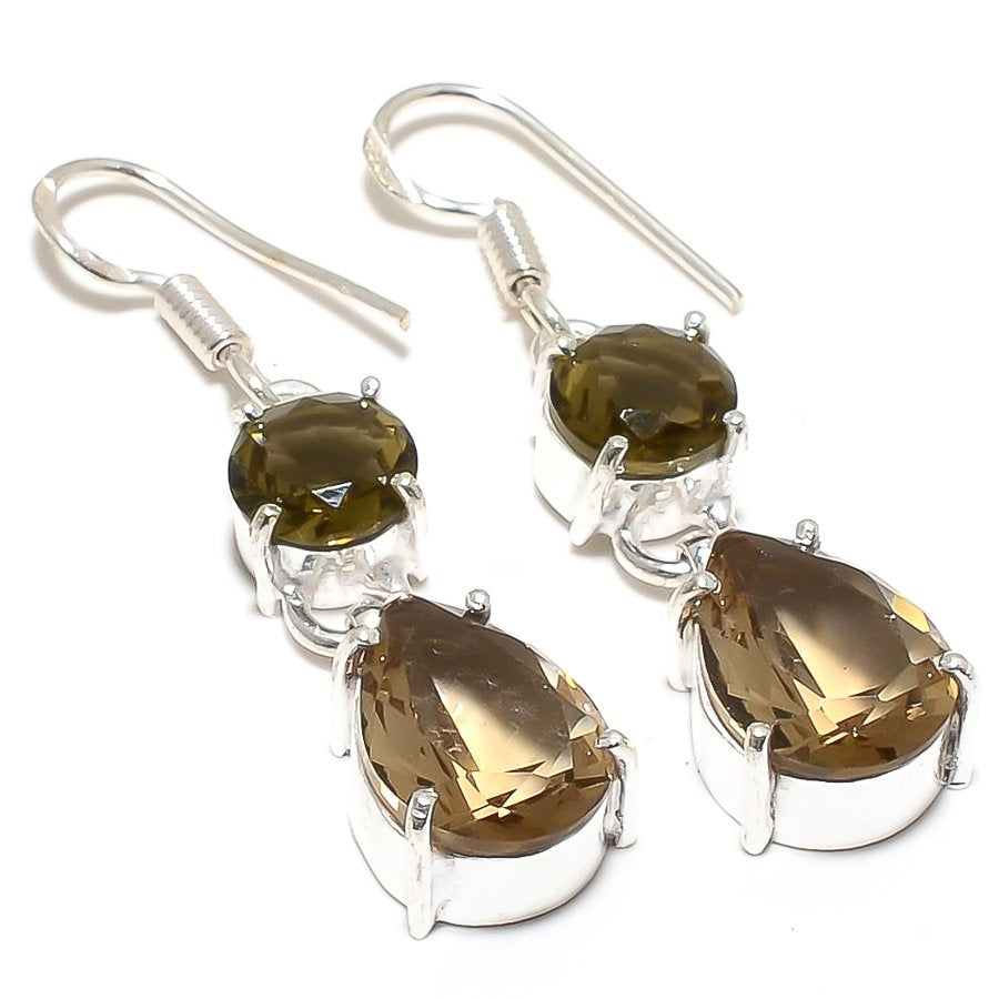 Smokey Topaz Gemstone Handmade Jewelry Earring 1.8 Inches RJ3884