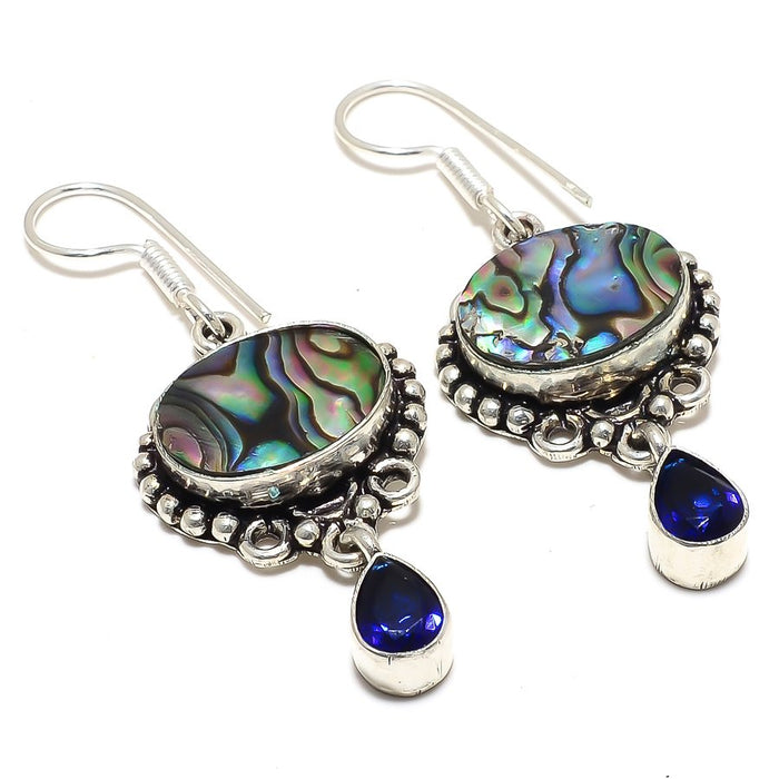 Abalone Shell, Blue Sapphire Jewelry Earring 2.0 Inches RJ3887