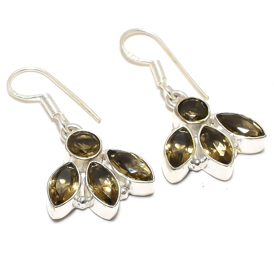 Smokey Topaz Gemstone Handmade Jewelry Earring 1.5 Inches RJ3903