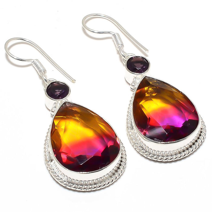 Bi-Color Tourmaline, Amethyst Jewelry Earring 2.1 Inches RJ3909