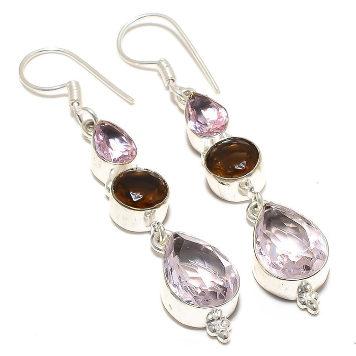 Kunzite Quartz, Smokey Topaz Jewelry Earring 2.6 Inches RJ3911