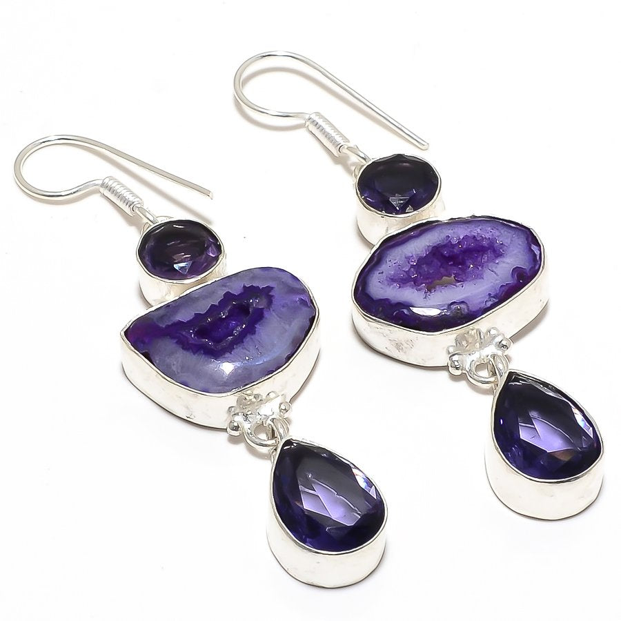 Purple Geode Druzy, Amethyst Jewelry Earring 2.6 Inches RJ3921