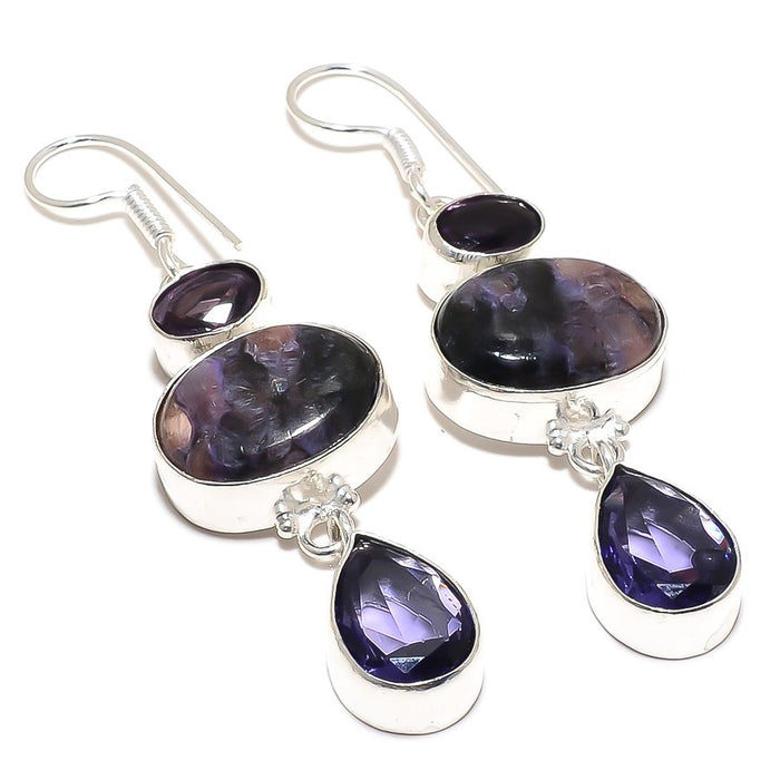 Charoite, Amethyst Gemstone Jewelry Earring 2.6 Inches RJ3931