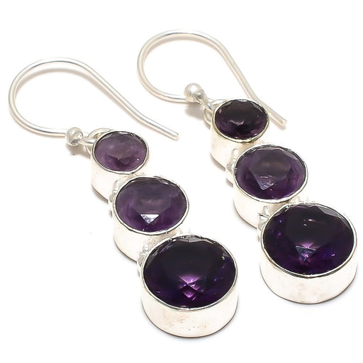 African Amethyst Gemstone Ethnic Jewelry Earring 1.7 Inches RJ3935