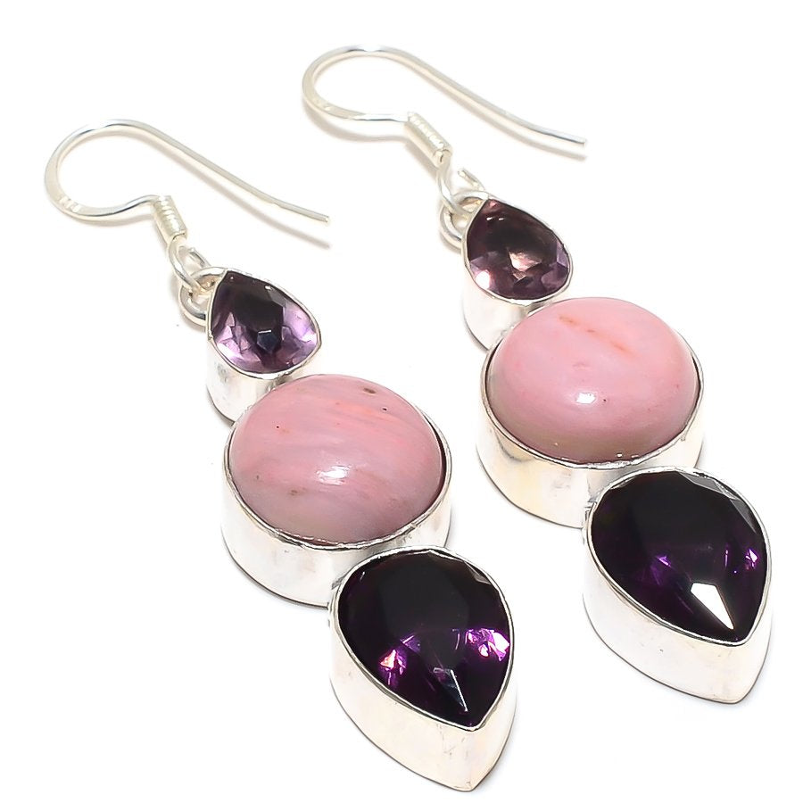 Pink Opal, Amethyst Gemstone Jewelry Earring 2.4 Inches RJ3952