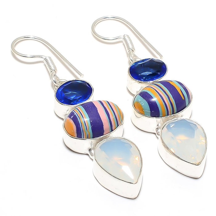 Rainbow Calsilica, Milky Opal Jewelry Earring 2.2 Inches RJ3957