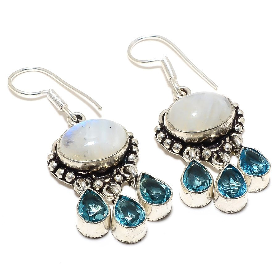 Rainbow Moonstone, Blue Topaz Jewelry Earring 2.0 Inches RJ3967