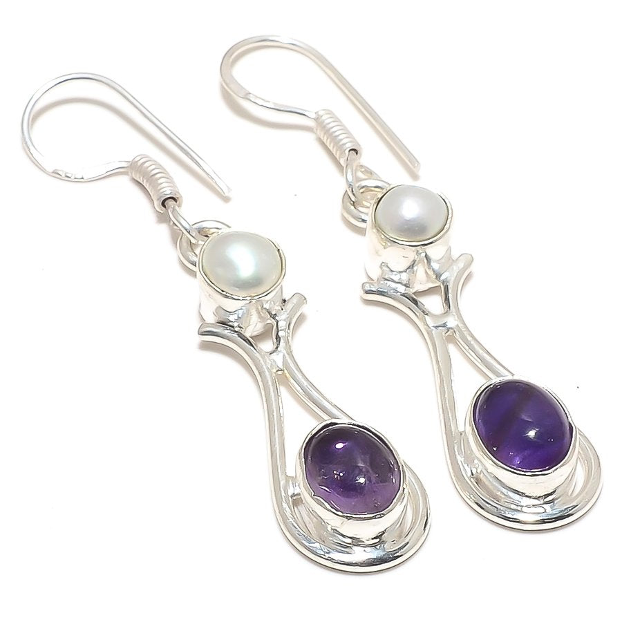 African Amethyst, River Pearl Jewelry Earring 2.0 Inches RJ3977