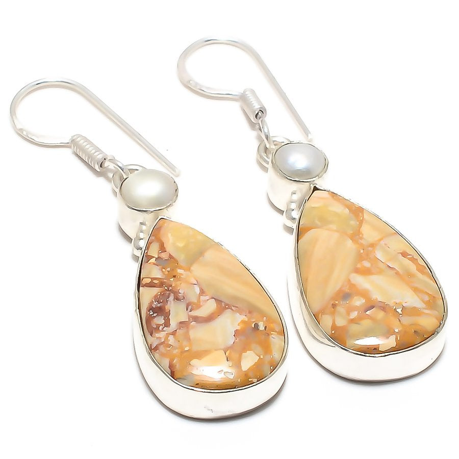 Brecciated Mookaite, River Pearl Jewelry Earring 2.2 Inches RJ3983