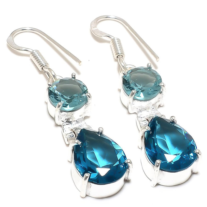 Blue Topaz Gemstone Handmade Jewelry Earring 1.8 Inches RJ3985
