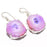 Pink Solar Quartz Druzy Gemstone Jewelry Earring 1.6 Inches RJ3987