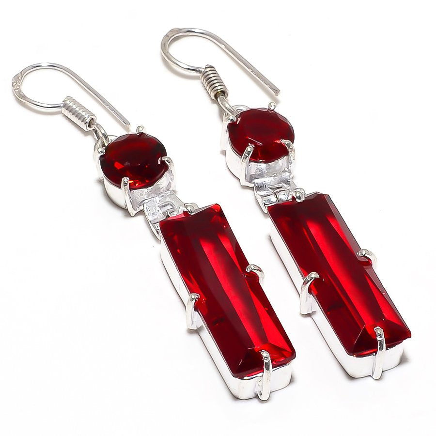 Garnet Gemstone Handmade Ethnic Jewelry Earring 2.4 Inches RJ4020