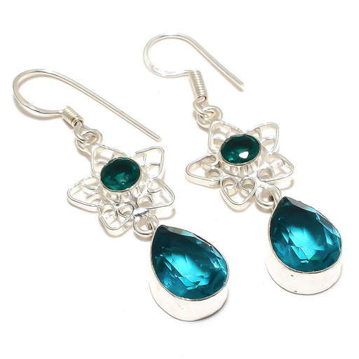 Teal Tourmaline Gemstone Ethnic Jewelry Earring 2.2 Inches RJ4024