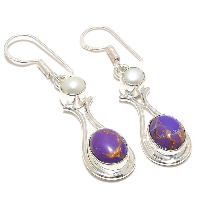 Copper Purple Turquoise Jewelry Earring 2.1 Inches RJ4025