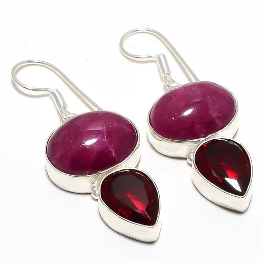 Ruby, Garnet Gemstone Handmade Jewelry Earring 2.0 Inches RJ4045
