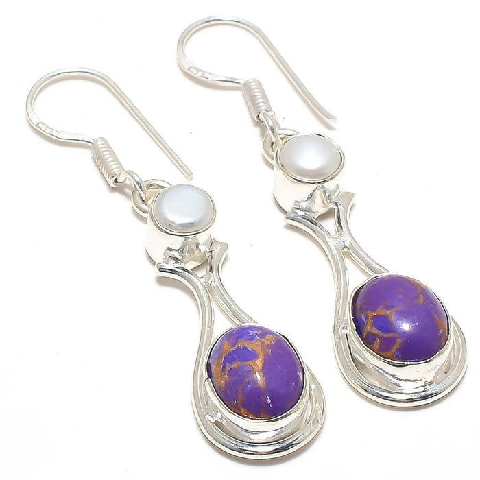 Copper Purple Turquoise Jewelry Earring 2.1 Inches RJ4047